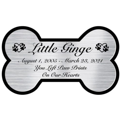 Engraved acrylic memorial urn plate, silver finish, bone shape, script font