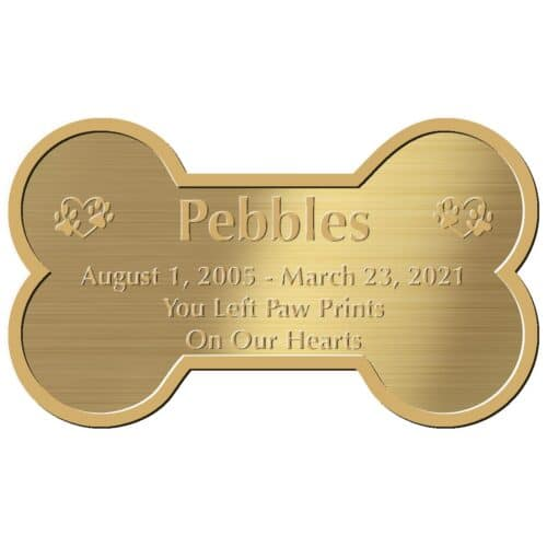 Engraved acrylic memorial urn plate, brass finish, bone shape, block font