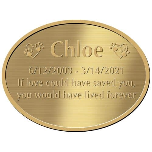Engraved acrylic memorial urn plate, brass finish, oval shape, block font