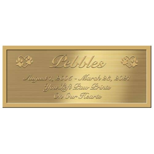 Engraved acrylic memorial urn plate, brass finish, rectangle shape, script font