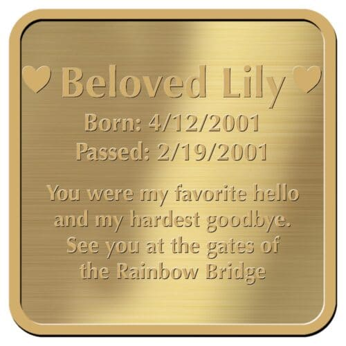 Engraved acrylic memorial urn plate, brass finish, square shape, block font