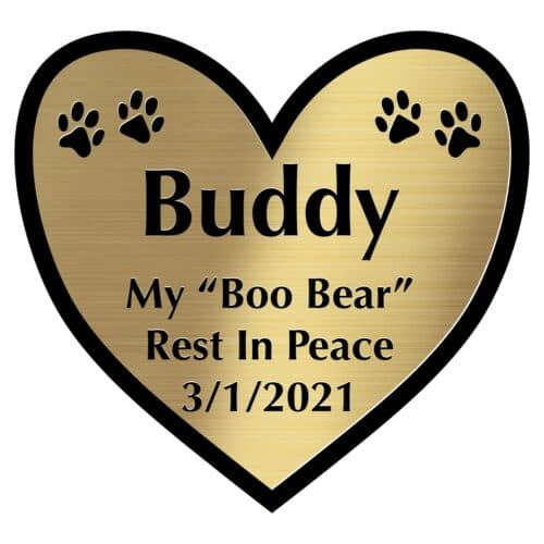 Engraved acrylic memorial urn plate, brass finish, heart shape, block font