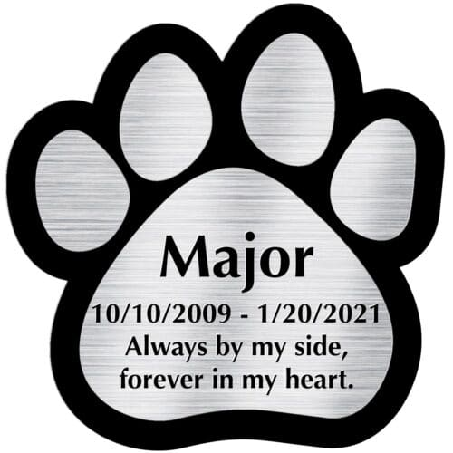 Engraved acrylic memorial urn plate, silver finish, paw print shape, block font