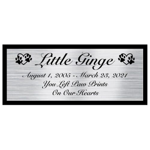 Engraved acrylic memorial urn plate, silver finish, rectangular shape, script font