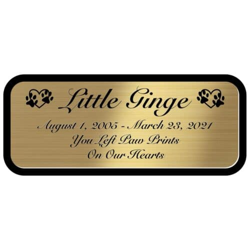Engraved acrylic memorial urn plate, brass finish, rectangular shape, script font