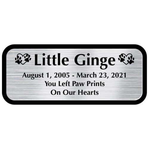 Engraved acrylic memorial urn plate, silver finish, rectangular shape, block font