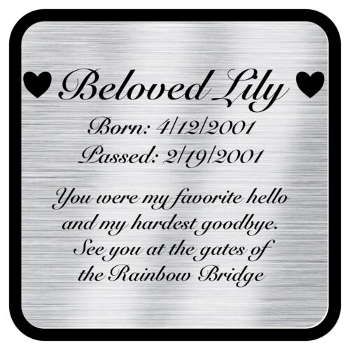 Engraved acrylic memorial urn plate, silver finish, square shape, script font