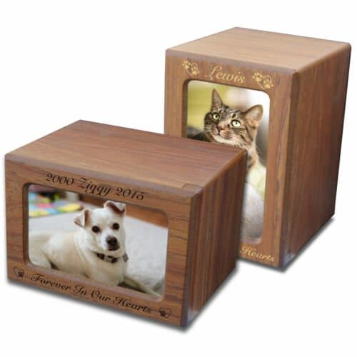 MDF wood memorial pet photo urn, teak finish, engraved, horizontal & vertical