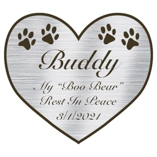 Engraved acrylic memorial urn plate, silver finish, heart shape, script font