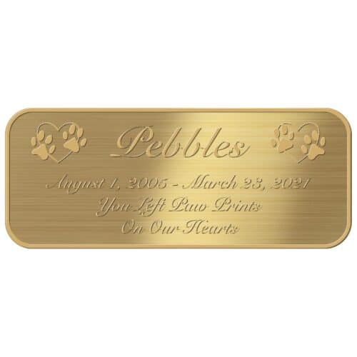 Engraved acrylic memorial urn plate, brass finish, rectangular shape, rounded corners, script font