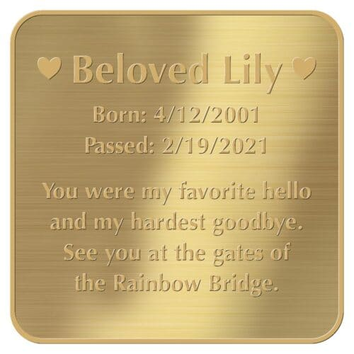 Engraved acrylic memorial urn plate, brass finish, square shape, rounded corners, gold text, block font