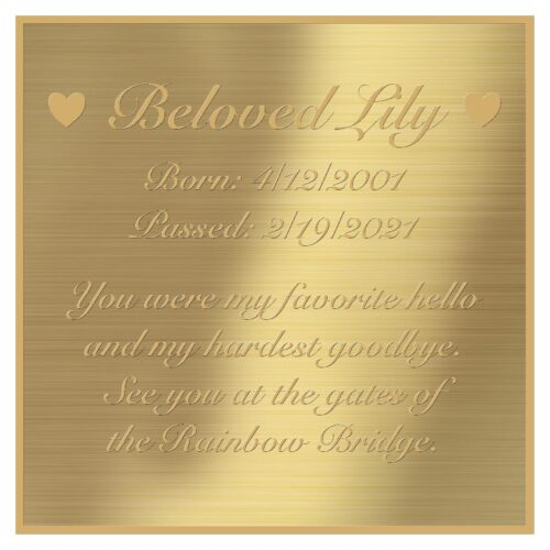 Engraved acrylic memorial urn plate, brass finish, square shape, gold text, script font