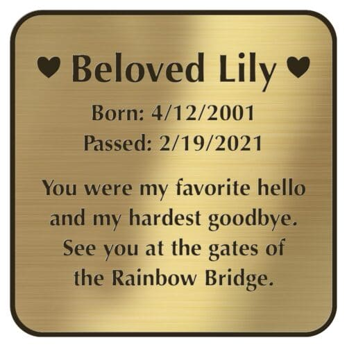 Engraved acrylic memorial urn plate, brass finish, square shape, rounded corners, block font