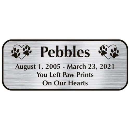 Engraved acrylic memorial urn plate, silver finish, rectangular shape, rounded corners, block font