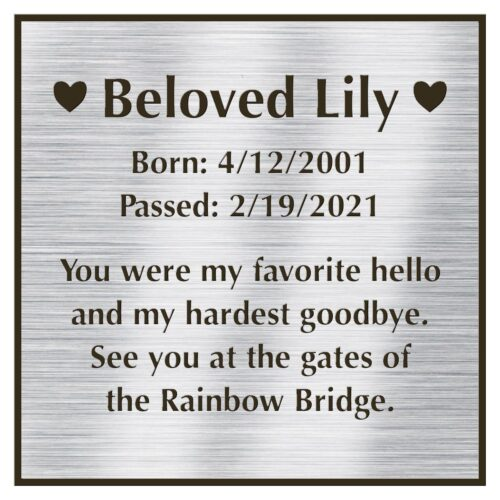 Engraved acrylic memorial urn plate, silver finish, square shape, block font