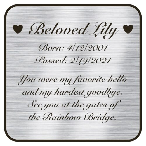 Engraved acrylic memorial urn plate, silver finish, square shape, rounded corners, script font